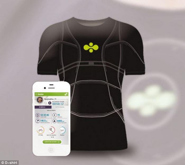 Информация о состоянии здоровья поступает с футболки на смартфон.