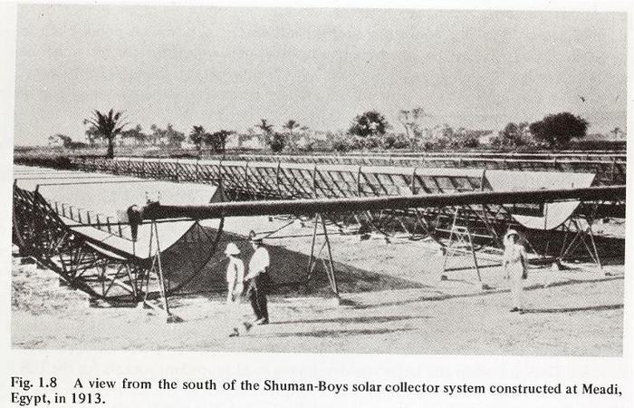 Первая солнечная «электростанция» в Египте (1913 год).