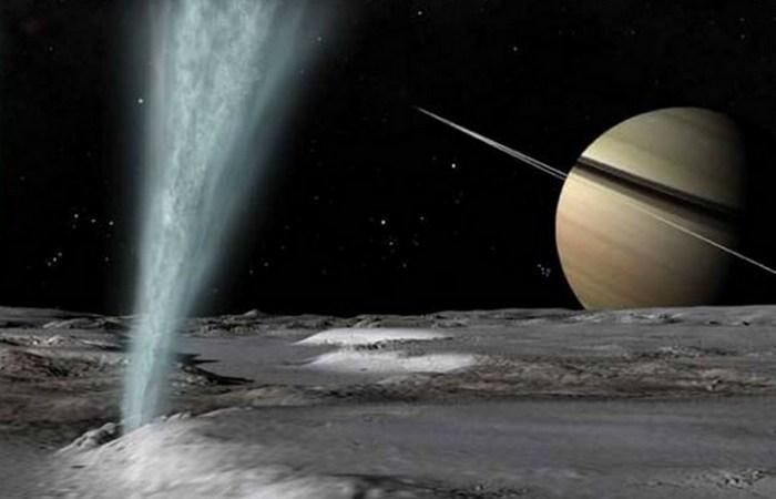Гейзеры Южного полюса спутника Сатурна Энцелады.
