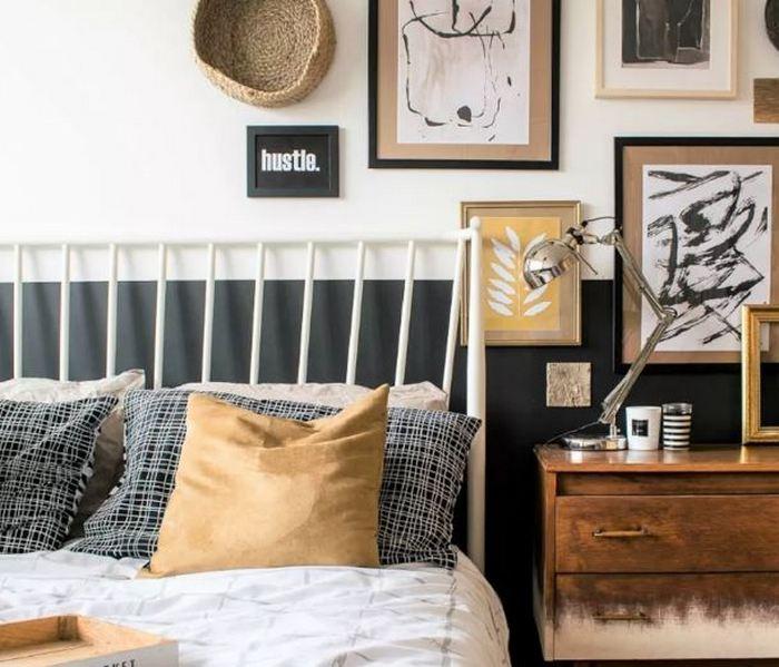 Спальня преобразилась в стильную галерею.