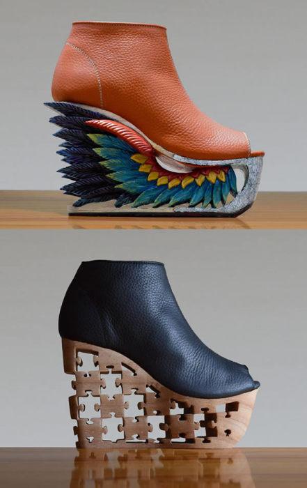 Обувь на резных каблуках.