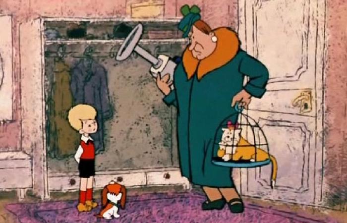 Домомучительница Фрекен Бок с вертикальным ручным пылесосом.
