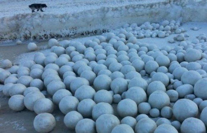 Причудливое зимние явление: «Ледяные шары».