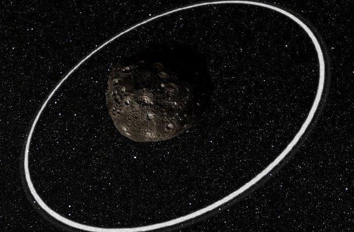 Харикло - астероид диаметром 250 километров с собственной системой колец