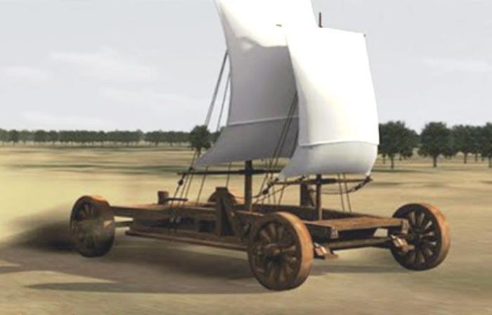 Древний китайский ветряной автомобиль.