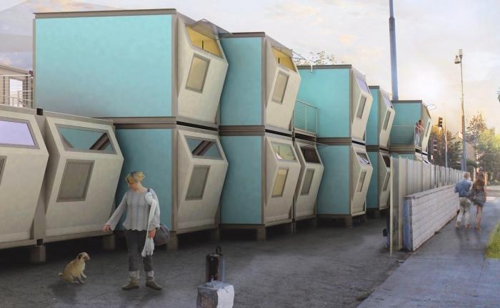 Архитектурная застройка Лос-Анджелеса будущего: микрорайон для бывших бездомных.