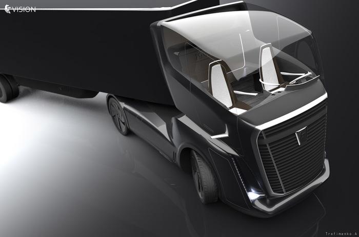 Большая «стеклянная» кабина концепта КамАЗ Vision.