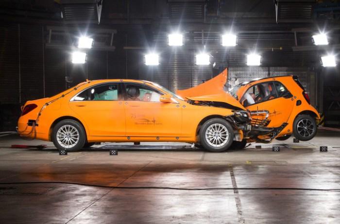 Занимательный краш-тест Smart Fortwo против Mercedes-Benz S-Class.