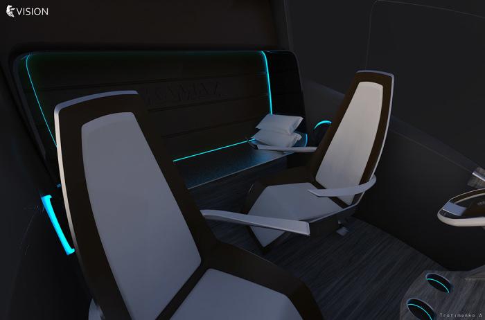 В кабине концептуального КамАЗ довольно просторно.