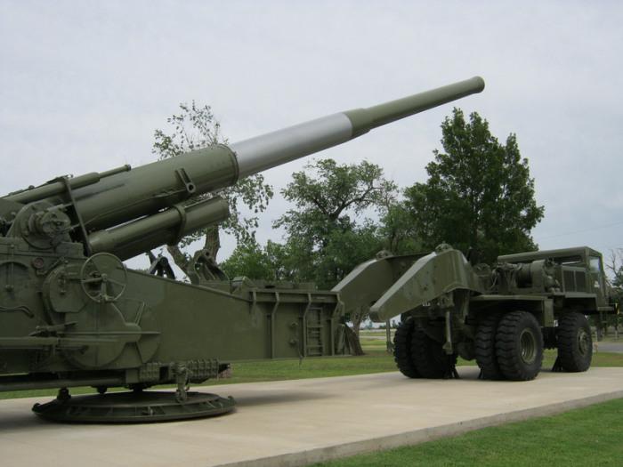 Артиллерийская установка М65 в Форт Силл, штат Оклахома, США.