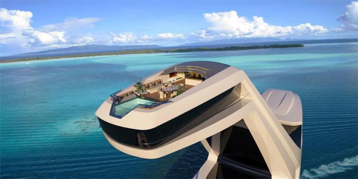Главная изюминка концепта – каюта с бассейном на 38-метровой высоте.