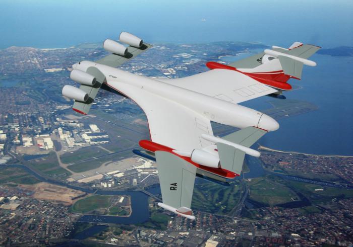 Проект самого большого в мире транспортного самолета-амфибии Бе-2500 «Нептун» с возможностью экранного полета над водой.