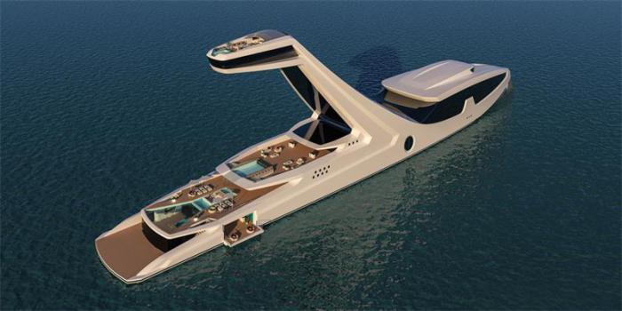 Яхта выглядит как скульптура или архитектурный проект.