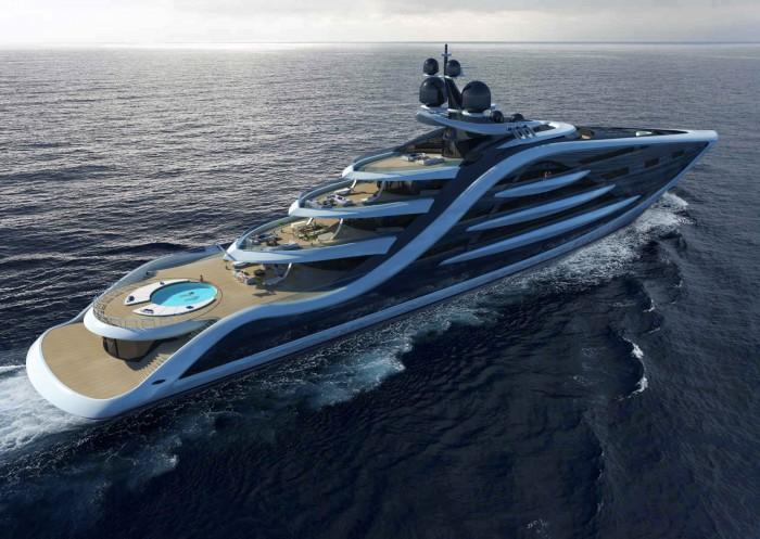 Яхта Epiphany с ее открытыми палубами крейсирует в море.