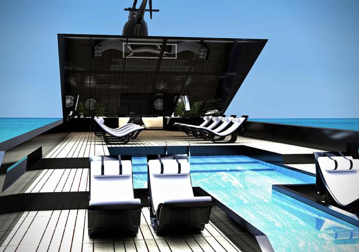 Вид на главную палубу и бассейн
