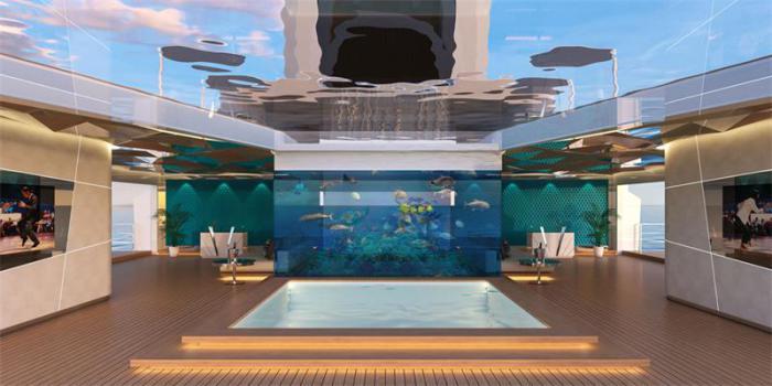 Аквариум с морской рыбой на нижней палубе.