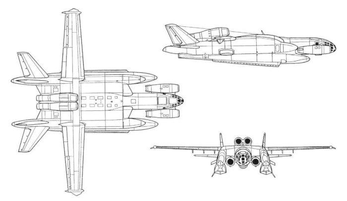 Самолет ВВА-14 в варианте с двигателями вертикального взлета и посадки.