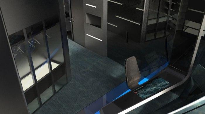 Стол с дисплейной поверхностью.