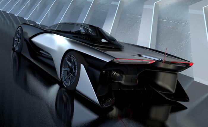 Сложная задняя часть FFZERO1 формирует оптимальную аэродинамику на больших скоростях.