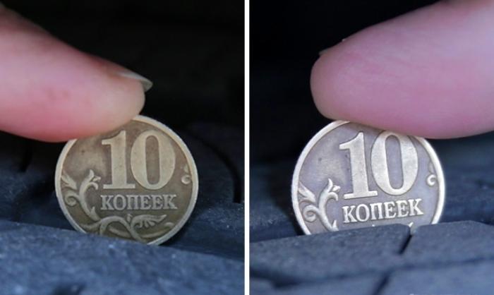 Чтобы узнать сколько осталось протектора, нужна всего лишь монетка. | Фото: aif.ru.