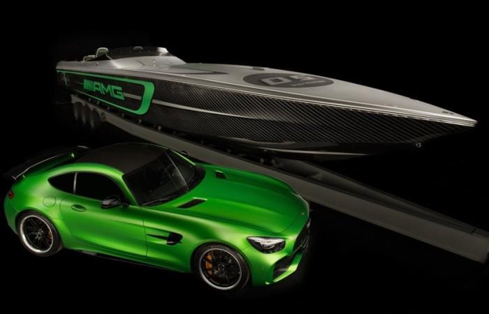 Катер Marauder AMG мощностью 3100 л.с. и спорткар Mercedes-AMG GT R.
