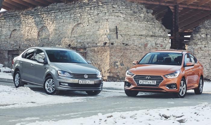 Volkswagen Polo и Hyundai Solaris - автомобили, которые нарасхват как новые, так и б/у. | Фото: autonews.ru.