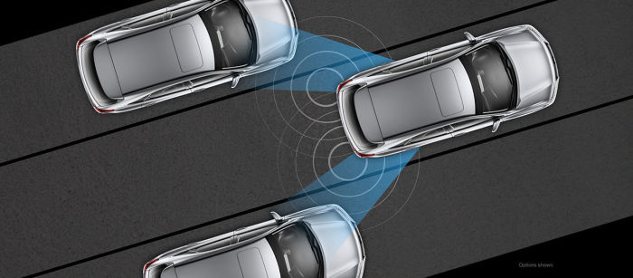 Система мониторинга непросматриваемых зон в Lexus RX350.
