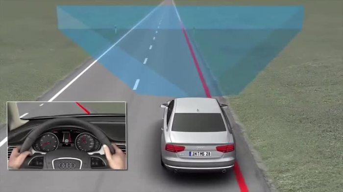 Система предупреждения о сходе с полосы на автомобилях Audi.