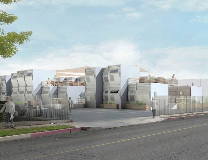 Проект застройки для бездомных в Лос-Анджелесе.