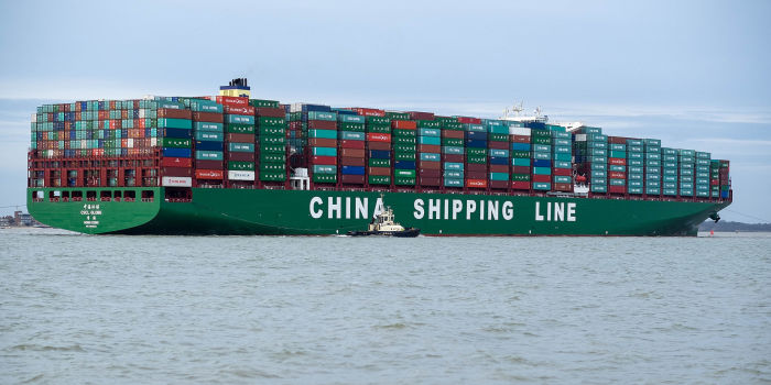 Китайский контейнеровоз CSCL Globe  в порту Феликстоу, Великобритания. | en.wikipedia.org.