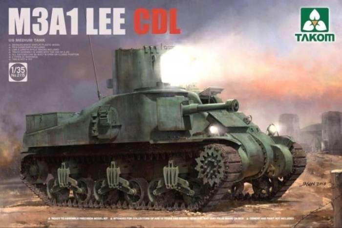 Американский танк M3A1 Lee с прожекторной установкой. | Фото: scalemates.com.
