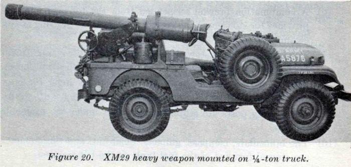 Безоткатная артиллерийская система XM29 установлена на джипе.