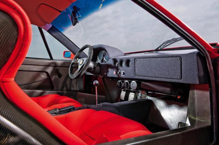 Спортивный салон суперкара Ferrari F40.