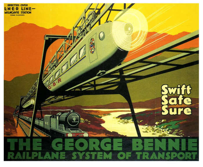 Рекламный плакат поезда-самолета Джорджа Бенни. | Фото: engineering-ru.livejournal.com.