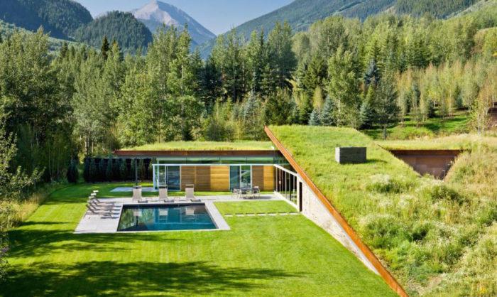 Частный особняк, интегрированный в природный ландшафт.
