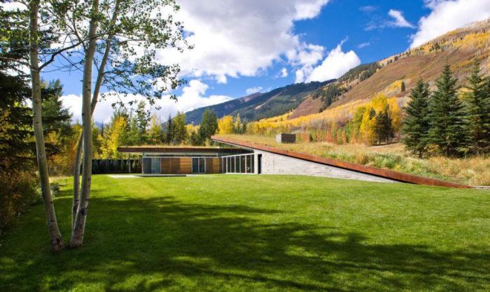Зеленая крыша маскирует дом, скрывая его истинные размеры.