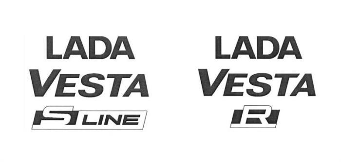 Эмблемы новых моделей Lada Vesta S-Line и Lada Vesta R. | Фото: autonet.ru.