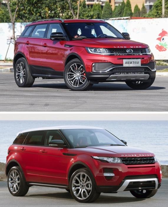 Range Rover Evoque и Landwind X7 – британский оригинал его и китайская копия.