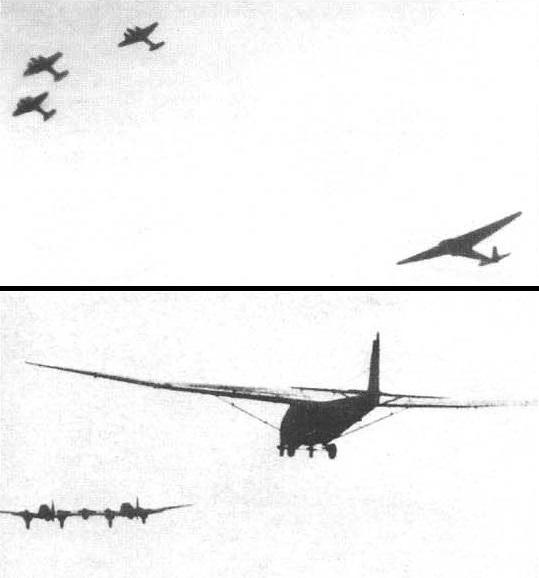 Планер Me.321 буксируется с помощью трех Bf.110C (вверху) и He.111Z Zwilling (внизу).
