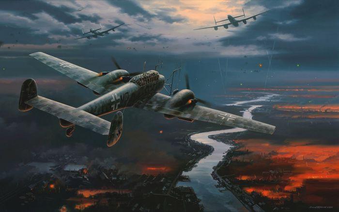 Ночной истребитель Messerschmitt Bf.110 преследует тяжелые бомбардировщики Союзников. | Фото: hobbiesandbeyond.com.