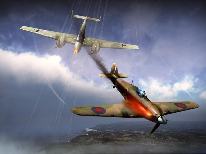 Британские истребители Hawker Hurricane легко уходили от тяжелых немецких 110-х. | Фото: warthunder.com.