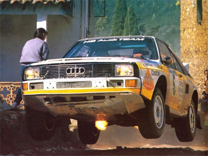 Вальтер Рёрль за рулем Audi Quattro S1 на ралли Сан-Ремо 1985 года.