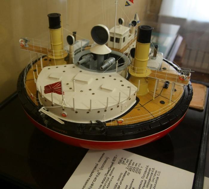 Масштабная модель черноморского броненосца береговой обороны «Новгород». | Фото: ru.wikipedia.org.