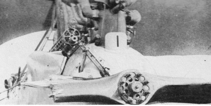 Пропеллер истребителя Albatros C.III, поврежденный выстрелами со своего же пулемета.