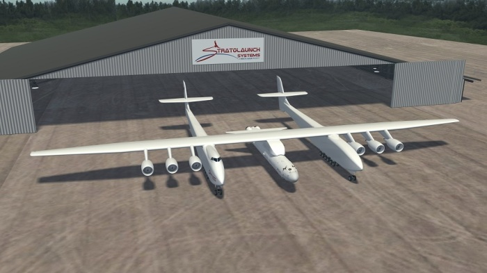 3D модель самолета Stratolaunch с подвешенной ракетой.