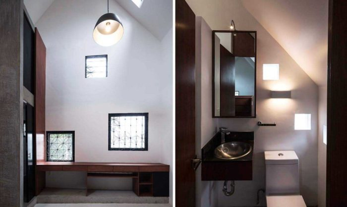 Интерьер светлой комнаты и санузел уютного Xomali House.