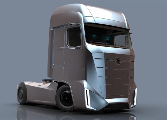 Монументальный дизайн кабины нового дальнобойного КАМАZ E-Truck.