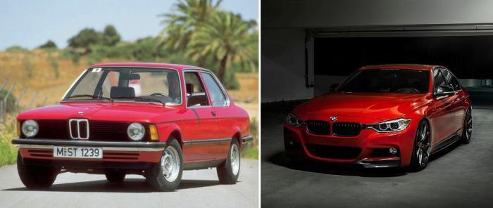 BMW 3 серии: купе E21 (1975-1983 гг.) и седан F30 (2012-н.д.).