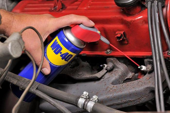 WD-40 – средство незаменимое как дома, так и в гараже. | Фото: instrumenty.info.