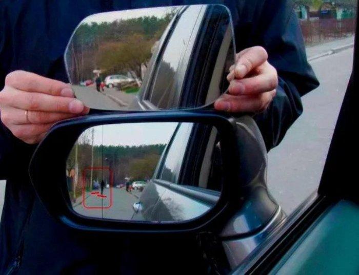 Зачем на зеркале заднего вида полоска